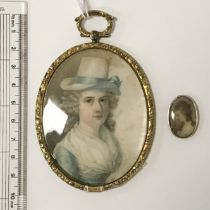 GILT FRAMED OVAL MINIATURE 1844 & MINIATURE IN SILVER FRAME - 10CMS & 25MM RESPECTIVELY