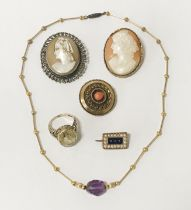 QTY OF INTERESTING ITEMS INCL. CAMEO BROOCHES & GOLD