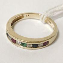9CT GOLD DIAMOND, EMERALD, SAPPHIRE & RUBY RING - SIZE M/N