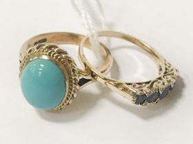 TWO GOLD RINGS - 1 SAPPHIRE SIZE P 1 TURQUOISE SIZE O