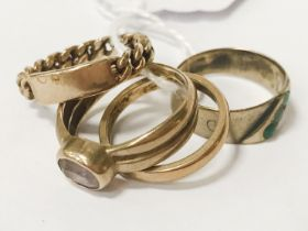 9CT GOLD RING & 3 OTHERS - SIZES K, L & M