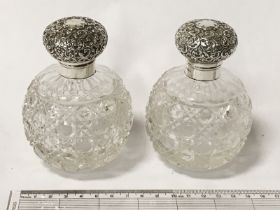 SCENT BOTTLES WITH HM SILVER TOPS - 11CMS