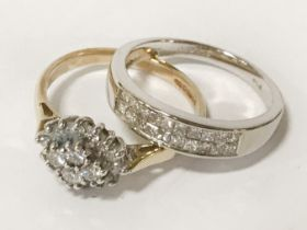 TWO WHITE GOLD & DIAMOND RINGS - APPROX HALF CARAT EACH - BOTH SIZE P