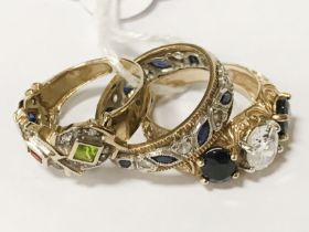 TWO 9CT GOLD BEJEWELED RINGS & 1 OTHER (NOT MARKED) SIZES M,N & P
