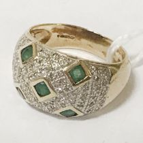 9CT GOLD EMERALD DOMED SHAPED RING WITH DIAMONDS - SIZE N