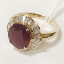 18CT GOLD DIAMOND & SYNTHETIC RUBY RING - SIZE N