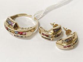 9CT GOLD & MULTI GEMSTONE EARRINGS & RING SET - SIZE M/N