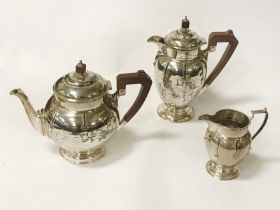 HM SILVER ART DECO THREE PIECE TEA SET