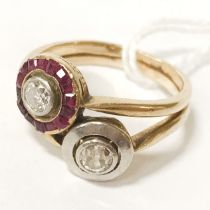 18CT GOLD TWO STONE DIAMOND RING SET WITH RUBY - SIZE O
