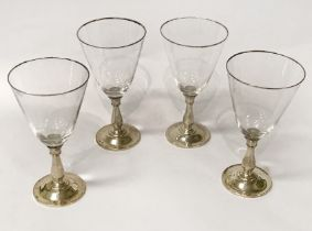 SET 4 GLASS & STERLING SILVER GLASSES - EACH 18CMS