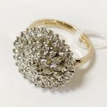 9CT WHITE GOLD DIAMOND CLUSTER RING SIZE M