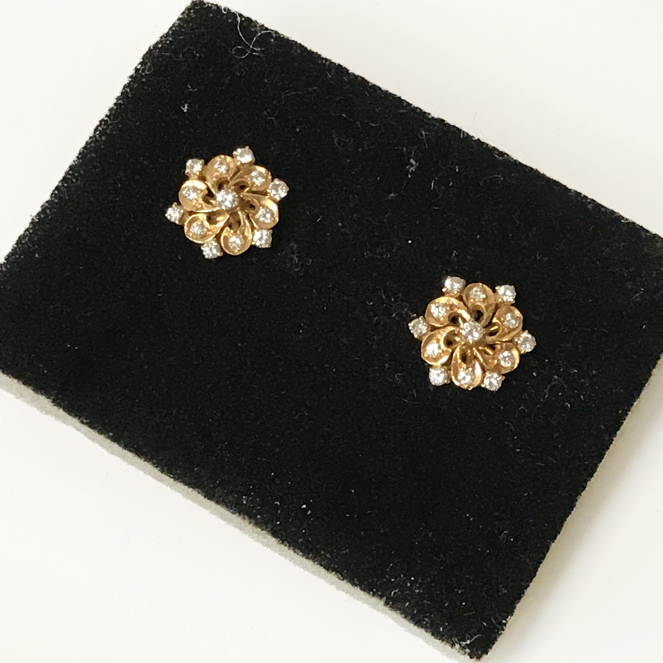 PAIR OF 21CT GOLD & DIAMOND SCREW BACKED EARRINGS