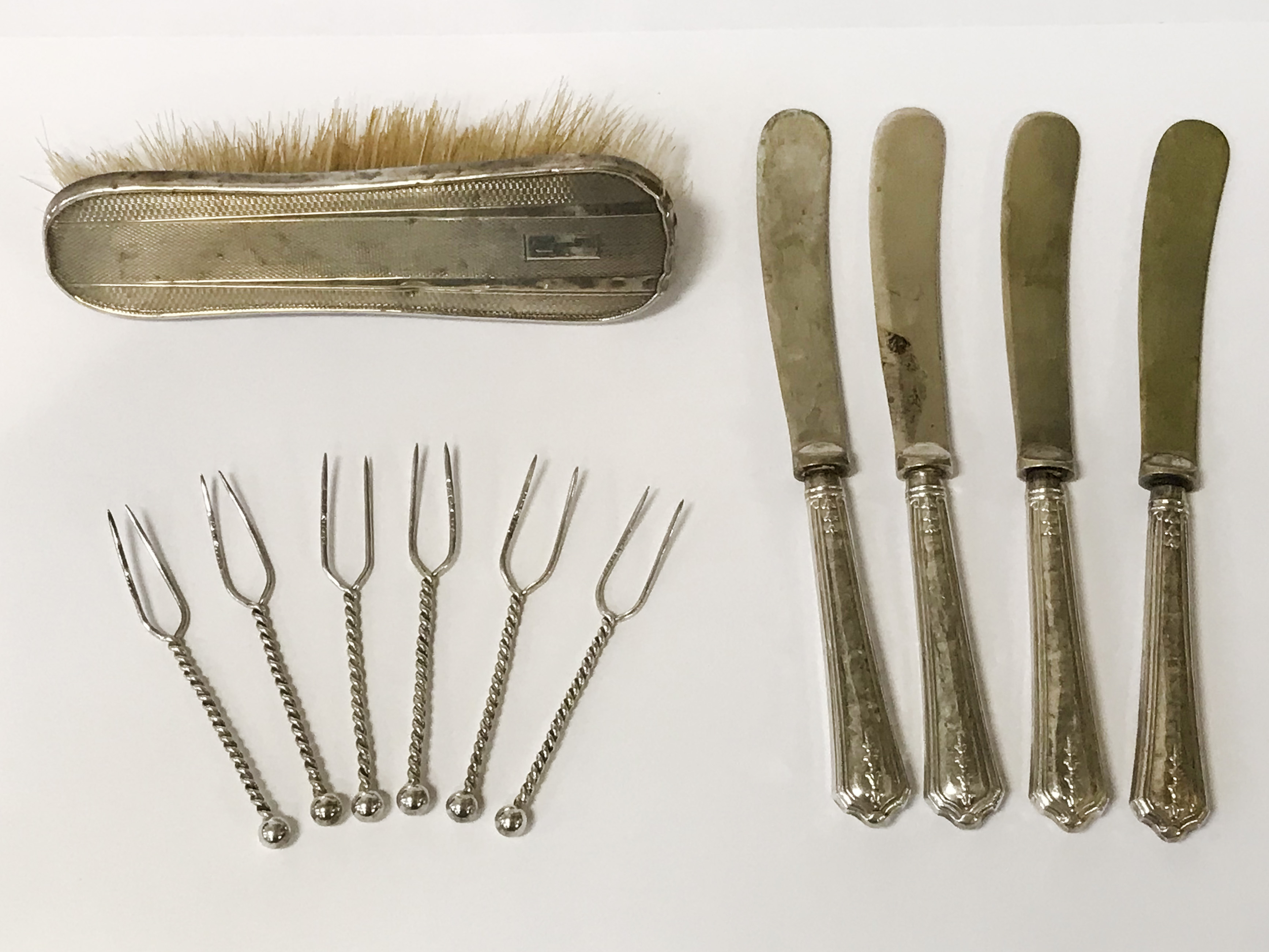 SIX HM SILVER OLIVE STICKS AND OTHER ITEMS
