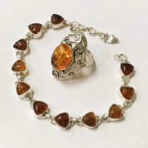 STERLING SILVER MIXED LOT AMBER JEWELLERY