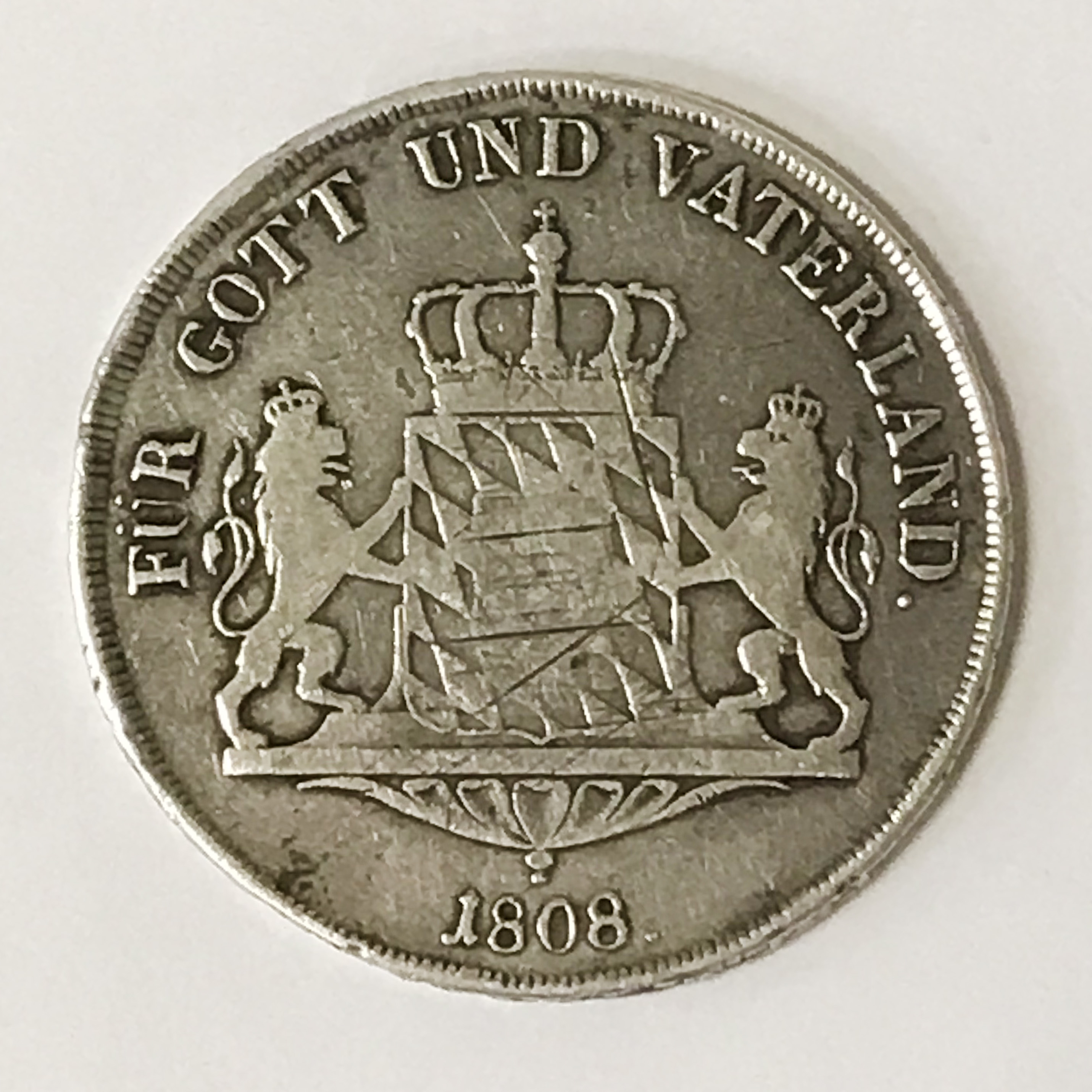 GERMAN SILVER COIN 1808 - Image 2 of 2
