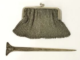 STERLING SILVER LETTER OPENER & STERLING SILVER CHAIN COIN PURSE