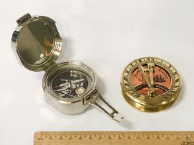 TWO BRASS COMPASSES