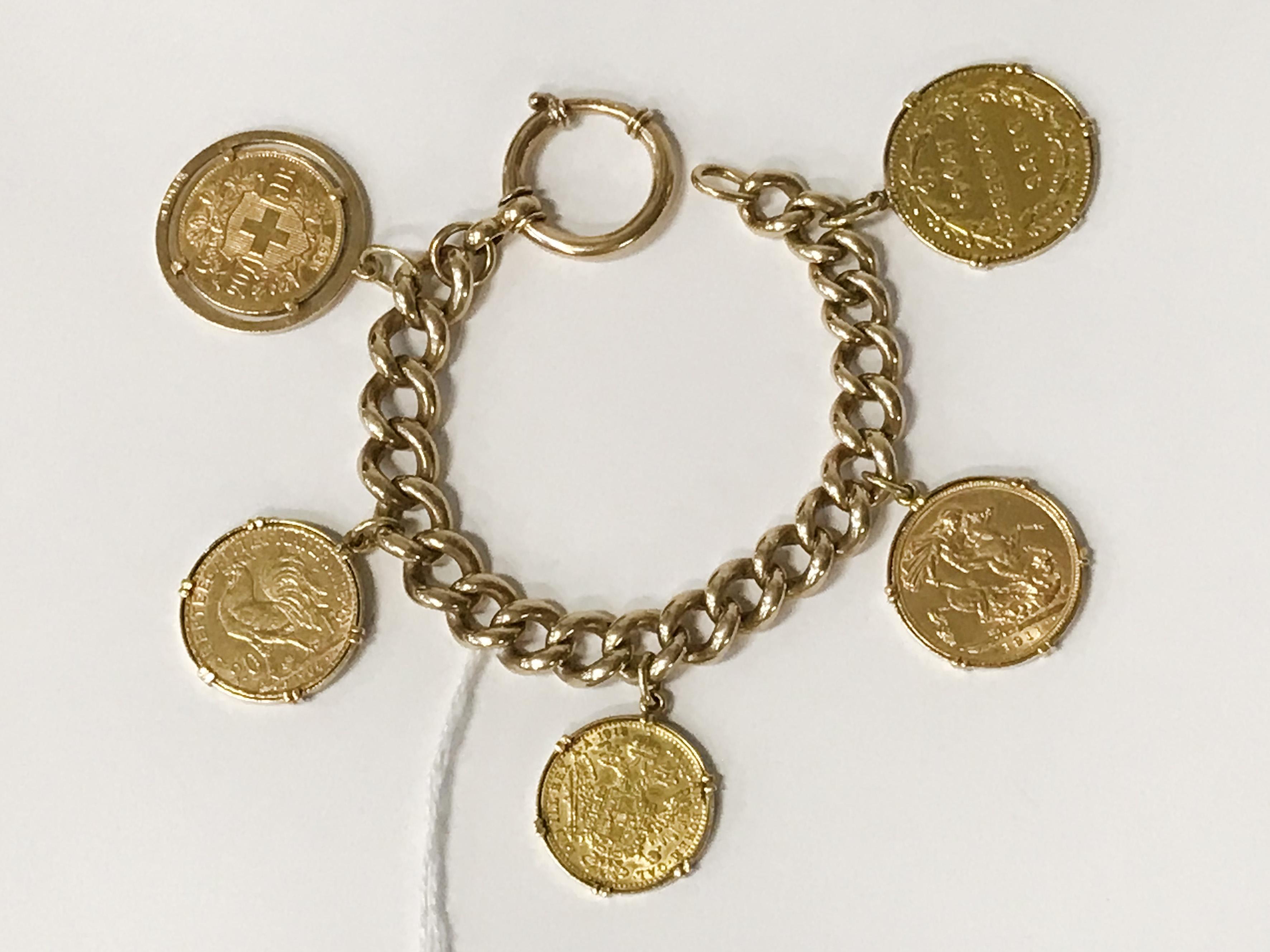VINTAGE MULTO GOLD COINS BRACELET - 2 X 20 SWISS FRANC COINS, 1 AUSTRIAN DUCAT, 1 FULL SOVEREIGN, - Image 2 of 2