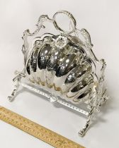 SILVER PLATE SHELL BISCUIT BOX