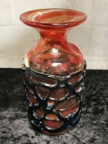 SIGNED MDINA ART GLASS VASE - 16CMS