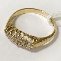18CT YELLOW GOLD 5 STONE DIAMOND RING - SIZE L