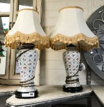 PAIR OF FLORAL LAMPS - 50CMS
