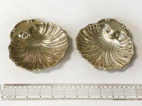 PAIR STERLING SILVER SHELL DISHES - 14 CMS