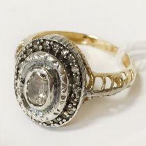9CT GOLD & DIAMOND RING - SIZE P