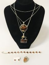 MIXED LOT STERLING SILVER AMBER JEWELLERY