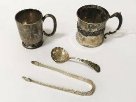 TWO SILVER CUPS & CADDY SPOON , SUGAR TONGS