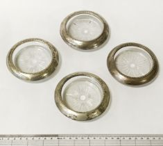 4 STERLING SILVER & GLASS COASTERS - 10CMS (DIAM)