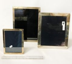 TWO LARGE & 1 SMALL HM SILVER PHOTO FRAMES - LARGEST 30 CMS X 25 CMS