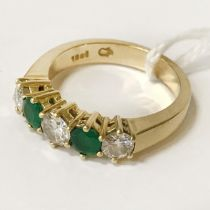 18CT GOLD EMERALD & DIAMOND RING - SIZE N