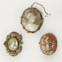 3 CAMEO BROOCHES - SLIGHT CHIP TO ONE OF THEM
