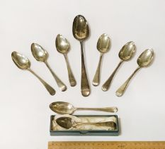 H/M SILVER GEORGIAN SERVING SPOON WITH 6 H/M SILVER GEORGIAN DESSERT SPOONS WITH 2 OTHER SPOONS OF A