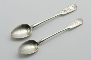 PAIR OF ANTIQUE HALLMARKED RUSSIAN SILVER SPOONS