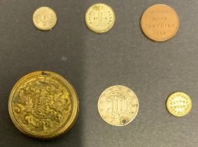 1861 THREE CENTS SILVER COIN & THREE 1848 MODEL QUEEN VICTORIA COINS + 1 OTHER & METAL CASE