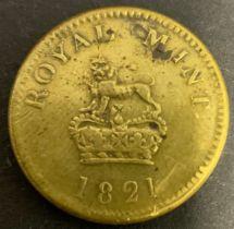 1821 ROYAL MINT BRASS GUINEA COIN WEIGHT