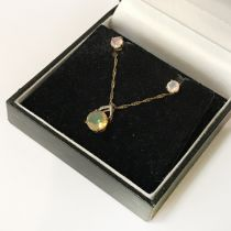 9CT GOLD 18'' CHAIN WITH VASELINE STONE PENDANT & MATCHING EARRINGS