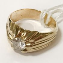14CT YELLOW GOLD SINGLE STONE DIAMOND RING - APPROX 0.75CTS - SIZE N-O WITH FULL CERTIFICATE