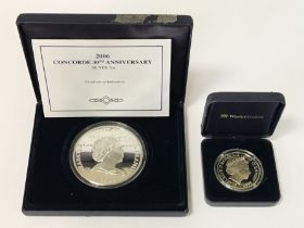 SILVER PROOF 30TH ANNIVERSARY CONCORDE COOKS ISLAND COIN & 1 OTHER SILVER COIN