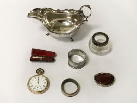 SILVER GRAVY BOAT & OTHER SILVER ITEMS