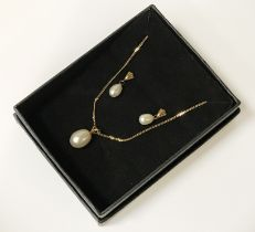 9CT GOLD 16'' CHAIN WITH 9CT GOLD PEARL PENDANT & MATCHING EARRINGS