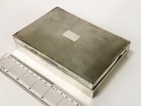 HM SILVER CIGARETTE BOX - 16 X 11CM APPROX.