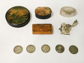 HM SILVER VESTA, THE DEVIL WITH RED EYES, 3 WOODEN SNUFF BOXES, 1 HM SILVER SNUFF BOX & 5
