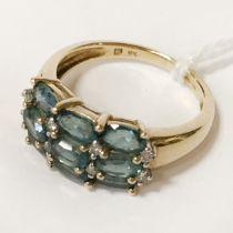 9CT YELLOW GOLD GREEN STONE & DIAMOND RING - SIZE O