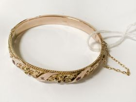 9CT GOLD BRACELET SET WITH RUBIES & DIAMONDS - APPROX 12 GRAMS