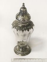 STERLING SILVER & GLASS SUGAR SIFTER - 21cms HEIGHT
