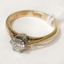 18 CT. GOLD DIAMOND RING - 1/4 CT. STONE - SIZE H