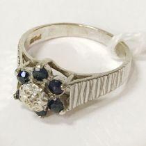 9 CT. GOLD SAPPHIRE DIAMOND RING - SIZE L